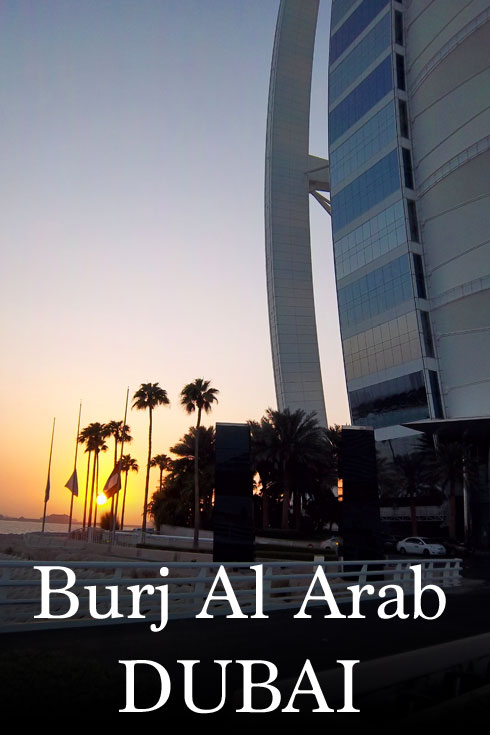 The Burj Al Arab in Dubai UAE at sunset
