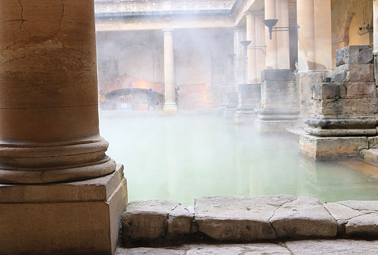 The steaming water of the Roman baths