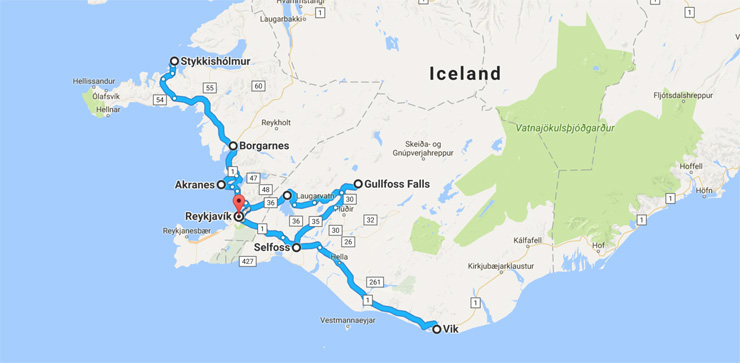 Iceland Route Map