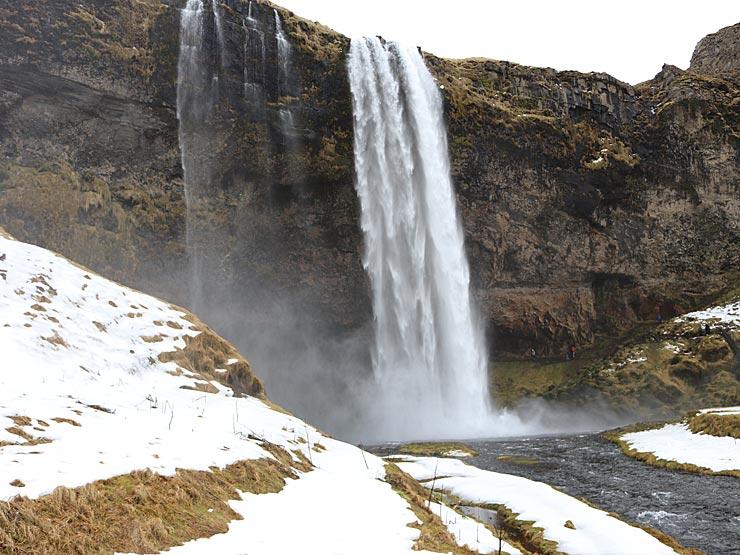 Seljalandsfoss in the snow
