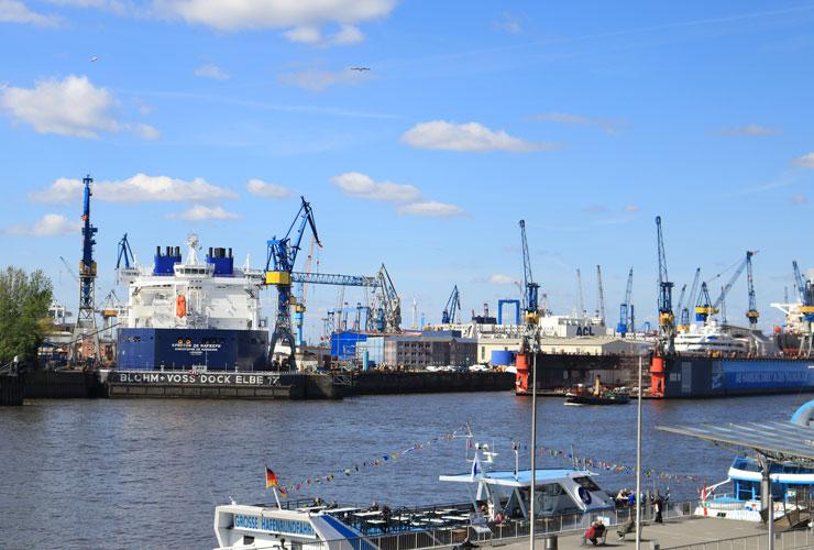 Overlooking the docks in Hamburg