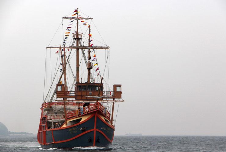Cruising Osaka Bay on the Santa Maria