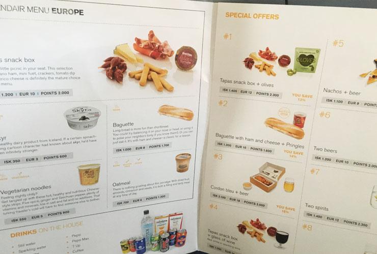 Icelandair menu