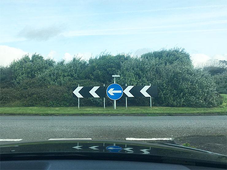 Approaching a roundabout