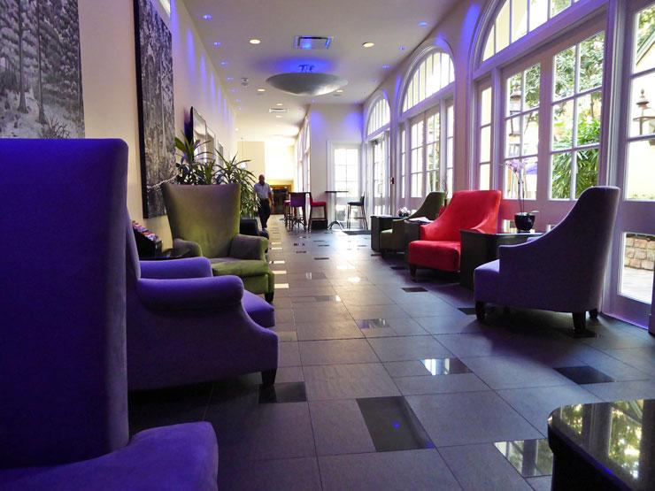 The lounge at Le Marais Hotel