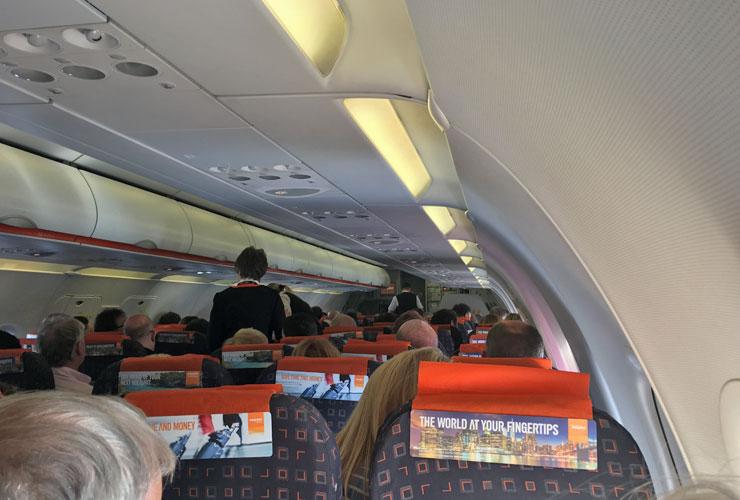 inside the EasyJet cabin