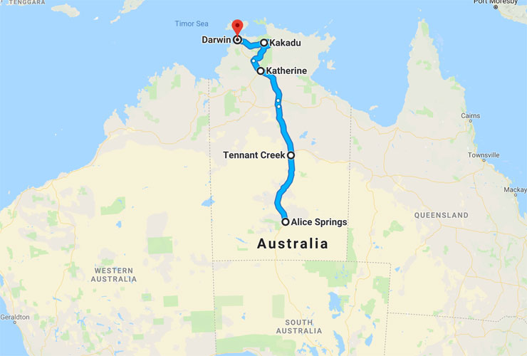 Australian Road Trip Route