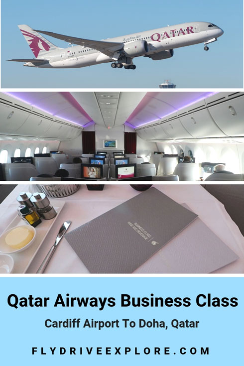 A look at Qatar Airways Business 787 Dreamliner from Cardiff to Doha Qatar