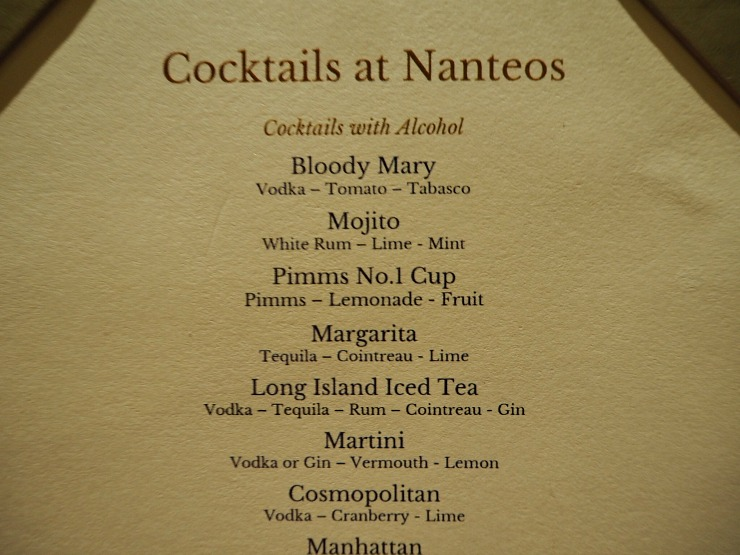 The cocktail list
