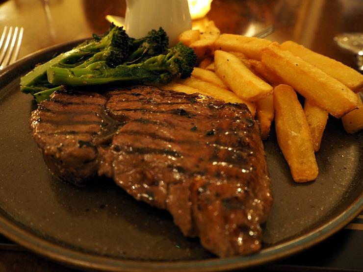 Steak at dinner