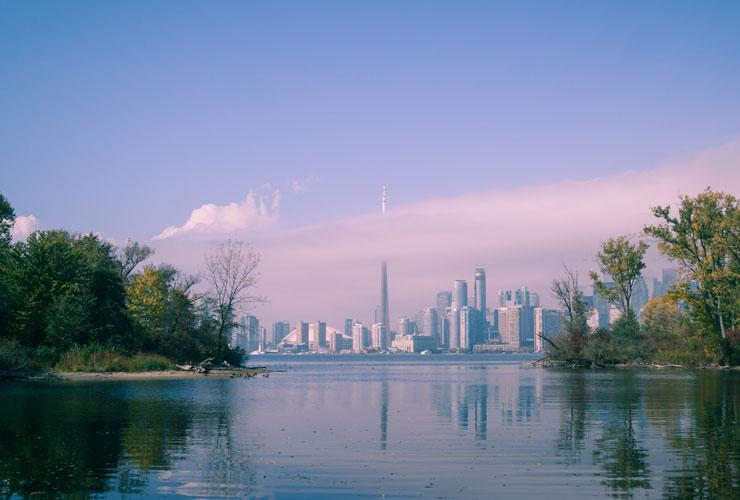 Twilight view of Toronto.