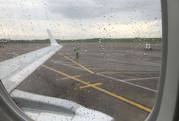 Leaving a grey Cardiff Airport